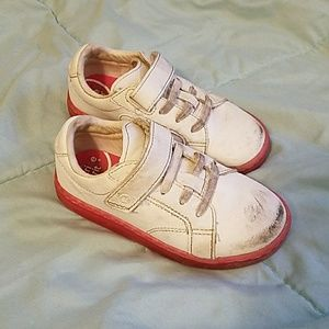 White and pink stride rite shoes